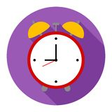 Alarm clock icon on purple background for any occasion vector illustration