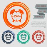 Alarm clock icon on the red, blue, green, orange buttons for your website and design with space text. Illustration Stock Photos