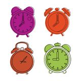 Alarm clock icon set, color outline style. Alarm clock icon set. Color outline set of alarm clock vector icons for web design isolated on white background Royalty Free Stock Images
