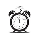 Alarm clock icon. Simple alarm clock, icon design, isolated on white background Stock Illustration