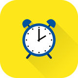 Alarm clock icon. Vector. Flat design with long shadow. Royalty Free Stock Photography