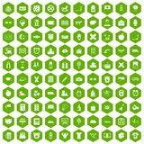 100 alarm clock icons hexagon green. 100 alarm clock icons set in green hexagon isolated vector illustration Royalty Free Stock Image