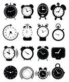 Alarm clock icons set. Alarm clock  icons set in black Stock Images
