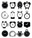 Alarm clock icons set. In black royalty free illustration