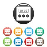 Alarm clock icons set color. Alarm clock icons set 9 color vector isolated on white for any design stock illustration