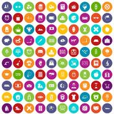100 alarm clock icons set color. 100 alarm clock icons set in different colors circle isolated vector illustration royalty free illustration