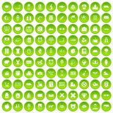 100 alarm clock icons set green circle. Isolated on white background vector illustration Royalty Free Stock Photo