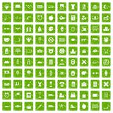 100 alarm clock icons set grunge green. 100 alarm clock icons set in grunge style green color isolated on white background vector illustration Stock Image