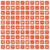 100 alarm clock icons set grunge orange. 100 alarm clock icons set in grunge style orange color isolated on white background vector illustration Stock Images