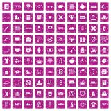 100 alarm clock icons set grunge pink. 100 alarm clock icons set in grunge style pink color isolated on white background vector illustration Stock Images