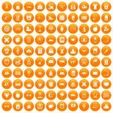 100 alarm clock icons set orange. 100 alarm clock icons set in orange circle isolated on white vector illustration Vector Illustration