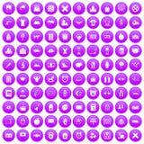 100 alarm clock icons set purple. 100 alarm clock icons set in purple circle isolated on white vector illustration Stock Photo