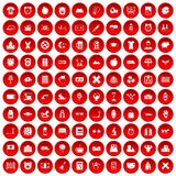 100 alarm clock icons set red. 100 alarm clock icons set in red circle isolated on white vector illustration Royalty Free Stock Photography
