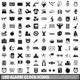 100 alarm clock icons set, simple style. 100 alarm clock icons set in simple style for any design vector illustration Vector Illustration