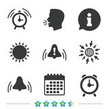Alarm clock icons. Wake up bell signs symbols. Stock Photos