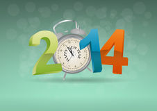 2014 alarm clock. Illustration of 2014 text with alarm clock Royalty Free Stock Image
