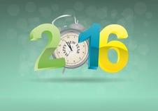 2016 alarm clock. Illustration of 2016 text with alarm clock Stock Photos