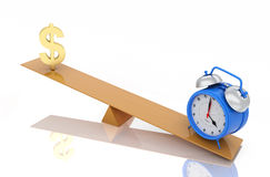 Alarm clock with Indian Dollar Symbol. 3D Rendering Image Stock Photography