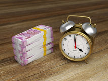 Alarm clock with Indian Rupee. 3D Rendering Image Stock Photography