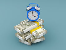 Alarm clock with Indian Rupee. 3D Rendering Image Stock Photos