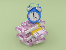 Alarm clock with Indian Rupee. 3D Rendering Image Royalty Free Stock Image