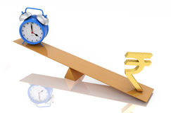 Alarm clock with Indian Rupee Symbol. 3D Rendering Image Royalty Free Stock Image