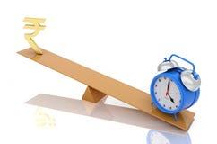 Alarm clock with Indian Rupee Symbol Stock Photos