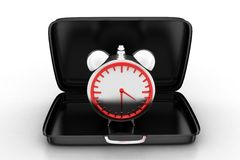 Alarm Clock Inside A Briefcase Stock Photography