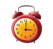 Old-fashioned Red Alarm Clock. Alarm Clock. isolated illustration on white background Royalty Free Stock Image