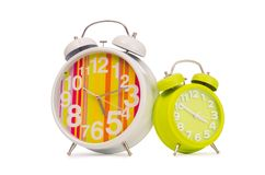 Alarm clock isolated on the white background Royalty Free Stock Images
