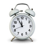 Alarm clock isolated on white, clipping path. Five minutes to tw Stock Image