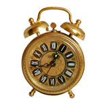 Alarm clock isolated on white, path included. Old-fashioned alarm clock set to quarter to one - isolated on white, path included royalty free stock photos