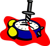 alarm clock with knife vector illustration royalty free illustration