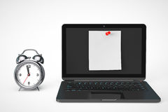 Alarm Clock with Laptop computer and blank note paper Stock Photos