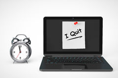 Alarm Clock with Laptop computer and I Quit sign Royalty Free Stock Images