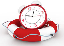 Alarm clock with Life Buoy on a white background Stock Photography