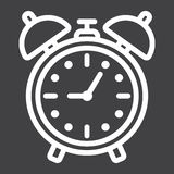 Alarm clock line icon, time and deadline Royalty Free Stock Photo