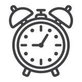 Alarm clock line icon, time and deadline Stock Photo