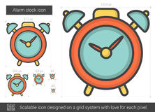 Alarm clock line icon. Alarm clock vector line icon isolated on white background. Alarm clock line icon for infographic, website or app. Scalable icon designed Stock Photos