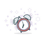 Alarm clock line illustration Royalty Free Stock Photo