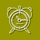 Alarm clock. Linear icon of alarm clock for use in logo or web design. Often used for back to school design or watch stores. Modern vector illustration for web Royalty Free Stock Photos