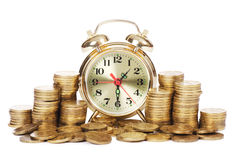 Alarm clock and money Stock Image