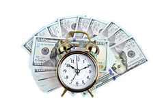 Alarm clock on money Royalty Free Stock Images