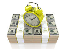 Alarm clock and money Stock Images