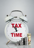 Alarm clock with money, financial tax time concept. Alarm clock with money, tax time concept Stock Photo