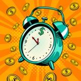 Alarm clock with money pop art vector illustration. Alarm clock with coins pop art retro vector illustration. Time money metaphor. Comic book style imitation royalty free illustration
