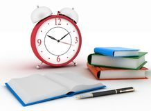 Alarm clock near stack of books. On a white background. 3d illustration Stock Photo
