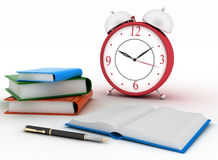 Alarm clock near stack of books on a white background. 3d illustration Stock Photography