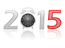Alarm clock 2015. 2015 new year on a white background Stock Photography