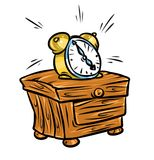 Alarm Clock nightstand cartoon illustration Royalty Free Stock Images